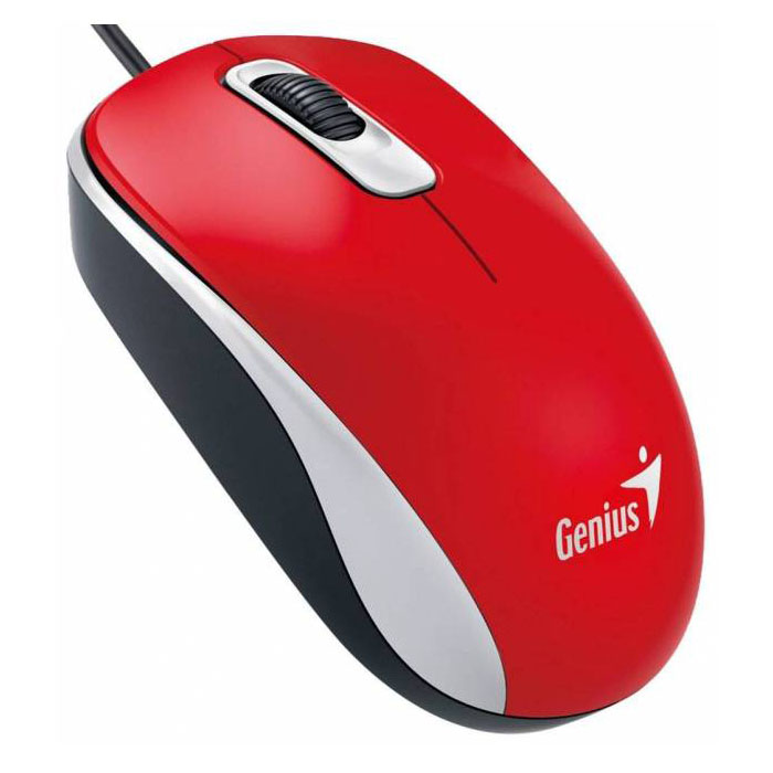 Mouse Genius DX-120, Optical, 1000 dpi, 3 buttons, Ambidextrous, Red, USB