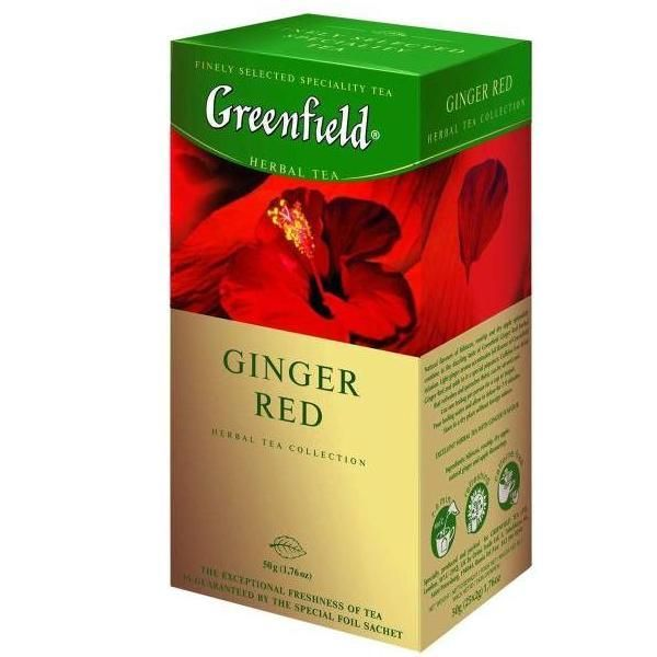 "Ceai GREENFIELD ""Ginger Red"", de plante, 25 pachetele"