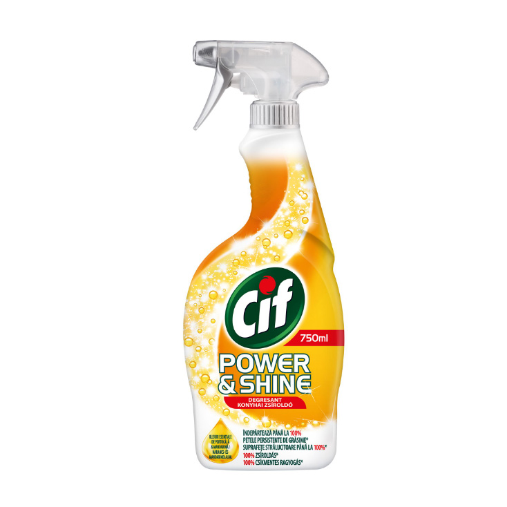 Solutie de curatare CIF Spray Power&Shine Degresant, 750 ml.